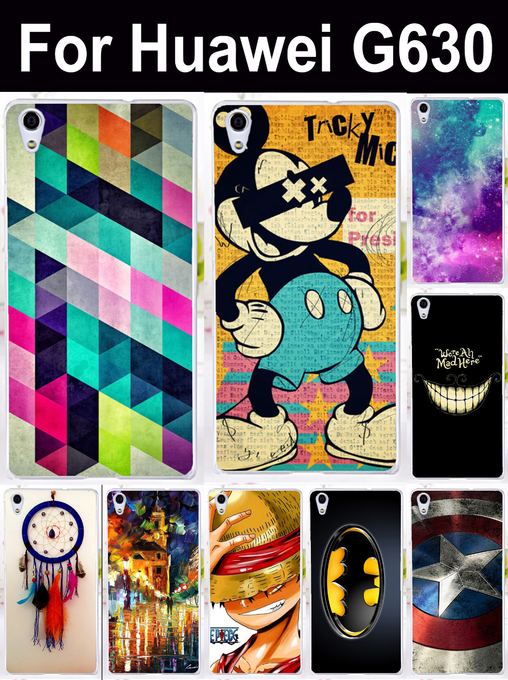 DIY Painted mobile cell phone case for Huawei Ascend G630 cell phone bags Housings Fashion Batman Captain America hard Shell(China (Mainland))