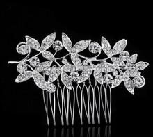 Luxurious Silver Plated Clear Austria Rhinestone Hair Combs Tiara Bridal Bridesmaid Accessory Headpieces Elements Crystal