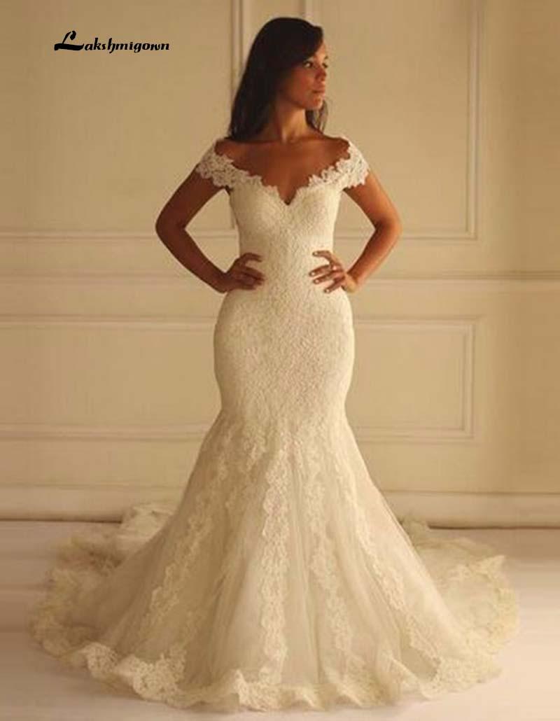 Hot Sale Long Lace Mermaid Wedding Dresses 2016 Sexy V-Neck Bridal Gowns Unique Design Back robe de mariage
