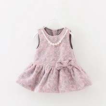Autumn Spring Baby Girls Sleeveless O Neck Lace Floral Bow Kids Pleated Dress Princess Party Sundress vestidos(China (Mainland))