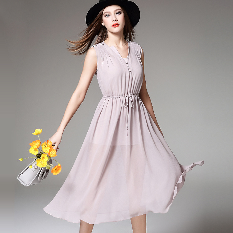 Women Silk Dress 2016 New High Quality Casual Luxury Brand Sleeveless Solid patchwork Party Dresses City Girl Fashion Vestido(China (Mainland))