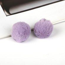 Moda 6 unids/lote pompón de piel sintética para DIY artesanía llavero conejo accesorios mujer hombre bola llavero colgante(China)