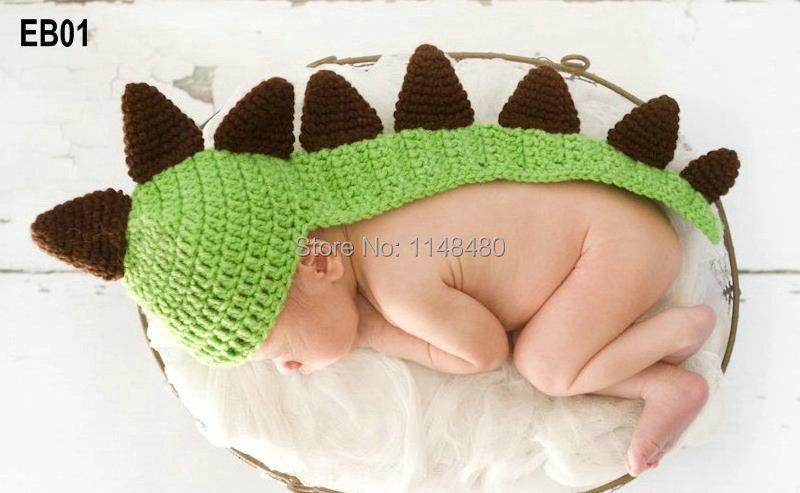 Newborn Baby Photograph Prop Dinosaur Hat with Tail Handmade Crochet Dragon Caps in Gray and Green(China (Mainland))
