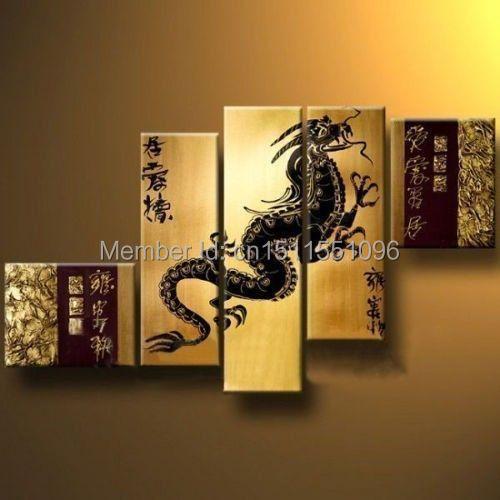 5PC Modern Abstract Huge Art Oil Painting Canvas (No frame) Huge ( China Dragon )(China (Mainland))