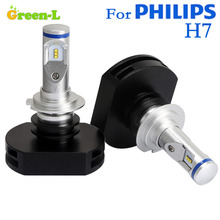 SET 360 Degree FOR PHILLPS LXZ2 LED CHIP 60W 6000LM H7 Led Bulb Headlights Car Headlamp Kit Fog Lamp WHITE 6200K - Green-Lighting store