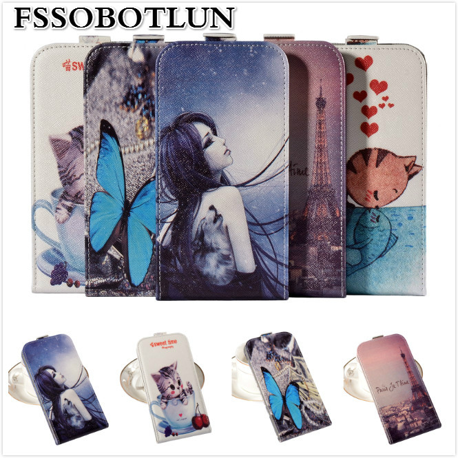 Factory price,Top quality Cartoon Painting Vertical flip PU leather mobile phone bag case For BQ BQS-4560 Golf(China (Mainland))