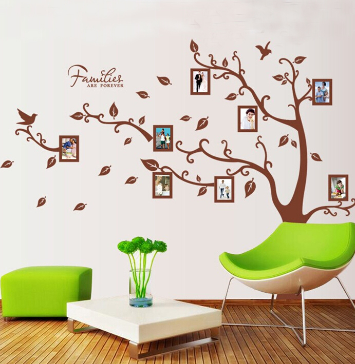 Free shipping 160 216cm large 3d diy photo tree pvc wall for Diy tree wall mural