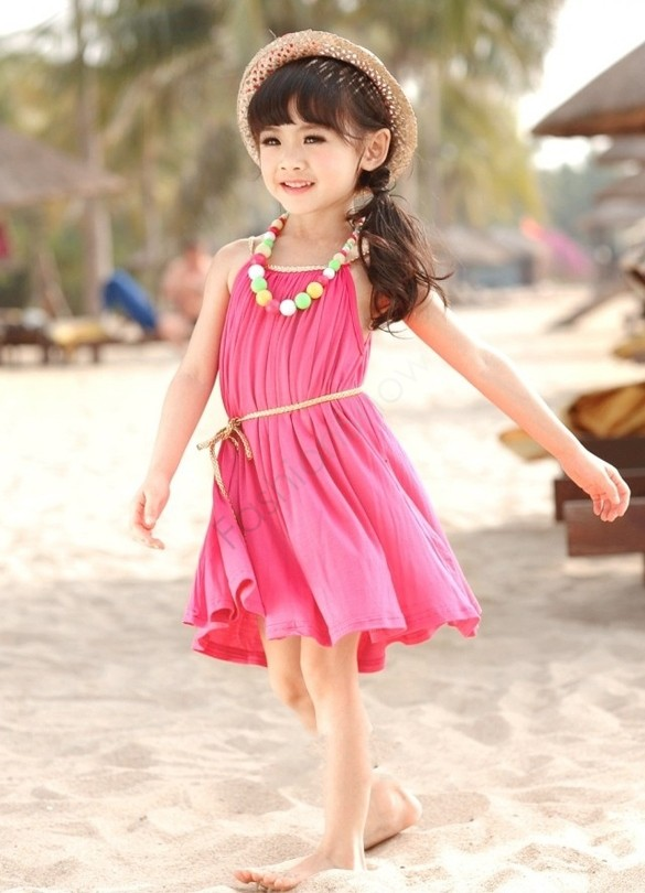 3-11Y Girl Beach Dress Bohemian Girls Summer Princess Dress Pleated Dresses For Girls Retail And Wholesale 10(China (Mainland))