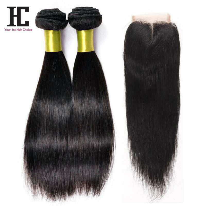 Virgin Hair Bundles With Closure Brazilian Straight Hair With Closure Lace 2Bundles Brazilian Grade 7A Virgin Hair With Closure