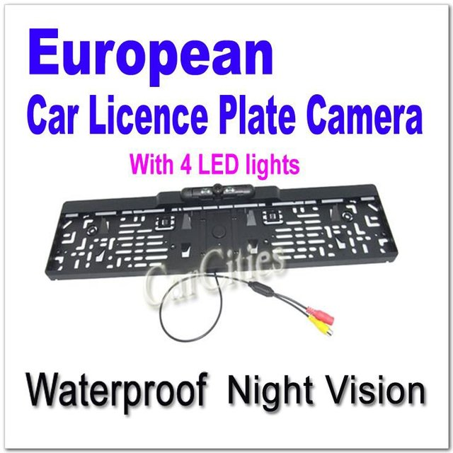 New!Car license plate camera for Europe with night vision,Car license plate camera with 4 led lights,High quality parking camera