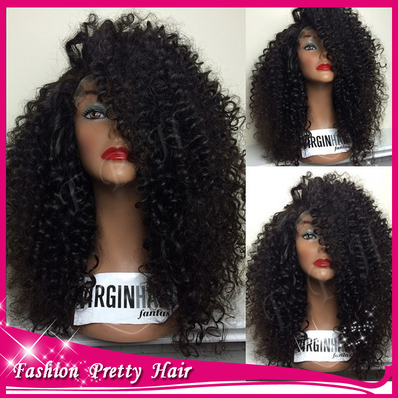 Peruvian Virgin Afro Kinky Wig Short Curly Hair 180 Density 100% Human Hair Glueless Full Lace Kinky Curly Wigs For Black Women(China (Mainland))