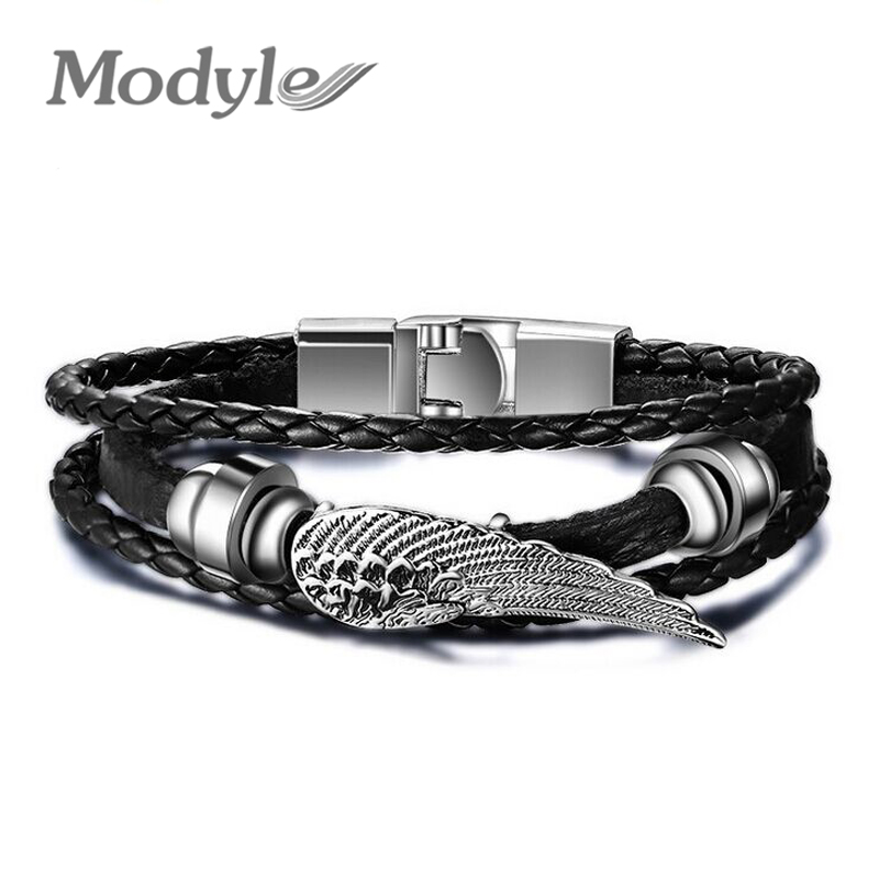 2016 High Quality New Fashion Jewelry PU Leather Bracelet Men Angel Wings Bracelets for Women Best Friend Gift(China (Mainland))