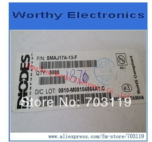 Free shipping 200pcs/lot SMAJ17A-13-F SMAJ17A 13 F DO-214AC TVS DIODE 17VWM 27.6VC SMA(China (Mainland))