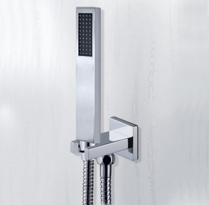 Free Shipping chrome copper hand in wall shower set with brass handl shower holder and 1.5m shower hose TH018(China (Mainland))