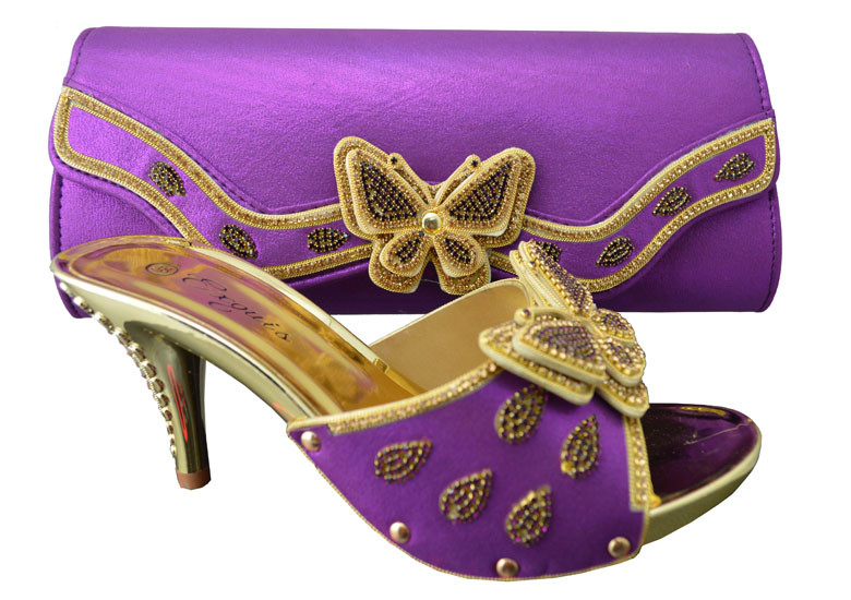 1308-L38 Purple shoes for wedding dress,High quality PU material for Italian design shoes with matching bag set.