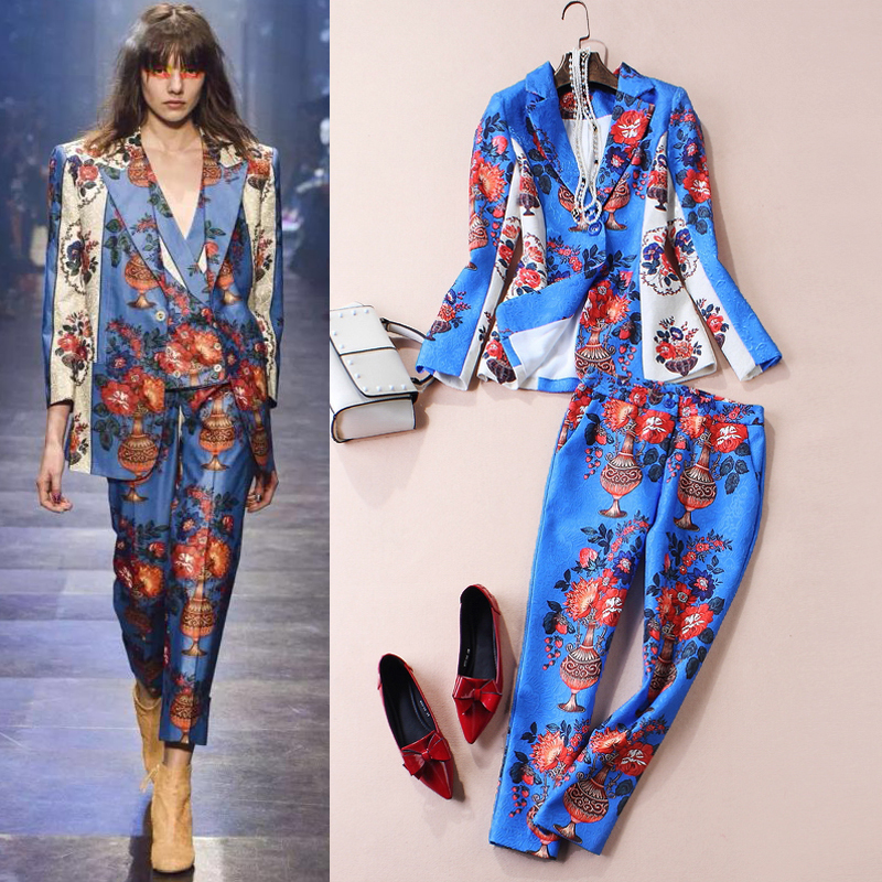 early Spring 2016women fashion catwalk high end ladies cotton jacquard floral print jacket + Slim Cropped pants casual work suitОдежда и ак�е��уары<br><br><br>Aliexpress