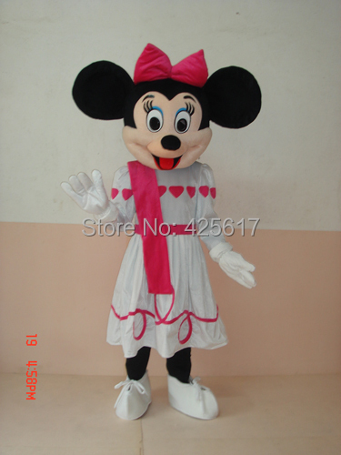 Hot selling!New beautiful pink heart mini dress mouse Cartoon Fancy Dress Suit Outfit Animal Mascot Costume - Sam's World store