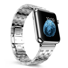 For Apple Watch Luxury 316L Stainless Steel Band Classic Double Button Metal Clasp Bracelet iWatch Wrist Strap