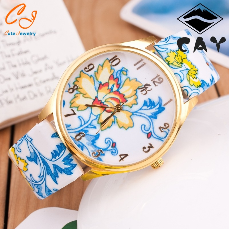 Sell well in blue and white porcelain strap bracelets Chinese wind shallow gold shell ladies bracelets Geneva bracelets(China (Mainland))