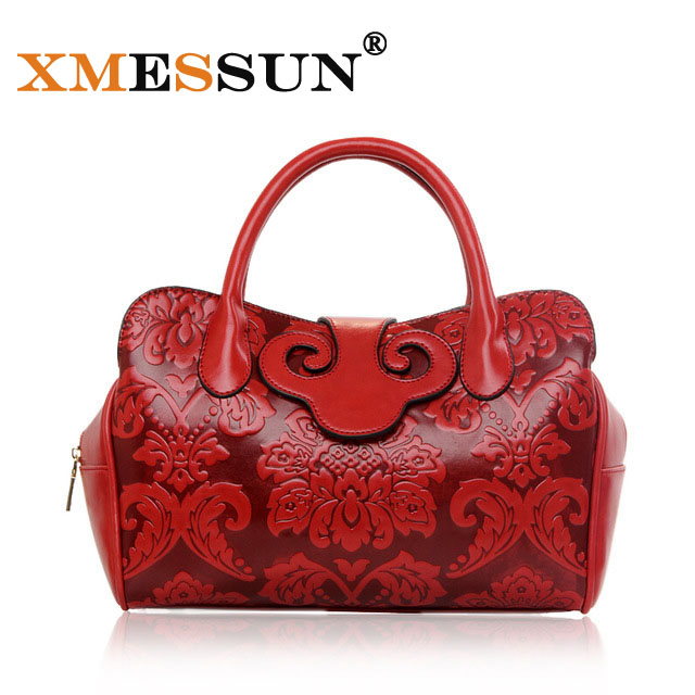 2016 New Vintage Style Women's Hand Bag Embossed Flower Shoulder Bag Ladies Fashion Leather Bag Brand Designer Luxury Tote Bags(China (Mainland))