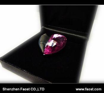 2013 New purple gem heart Pen Drive, hot selling