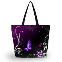 Purple Butterfly Soft Foldable Tote Large Capacity Women Shopping Bag Bag Lady's Daily Use Handbags Casual Beach Bag Tote(China (Mainland))