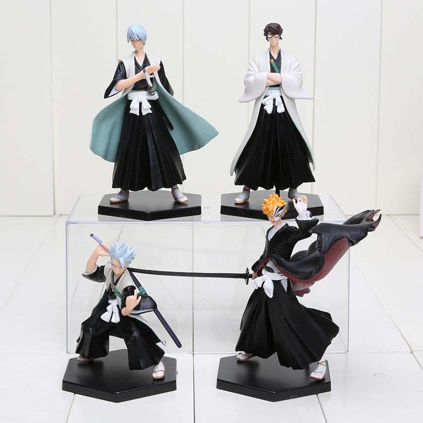 Anime 4x Bleach Action Figures Toys Kurosaki Ichigo Hitsugaya Aizen Gin Ichigo Figure Set 4pcs/set(China (Mainland))