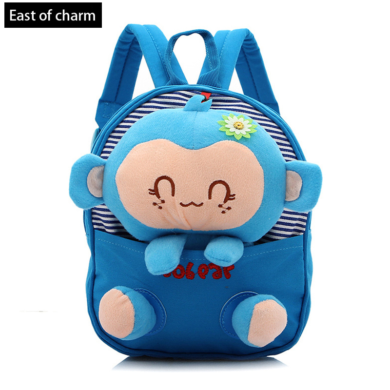 So Cute Cartoon Backpacks Child School Backpacks Kid Kindergarten Baby School Bag Plush Monkey Doll Toy mochila infantil(China (Mainland))