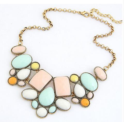 top quality 2015 2016 Hot fashion luxury gorgeous geometric polygon temperament short necklace best gift for women 4 colors(China (Mainland))