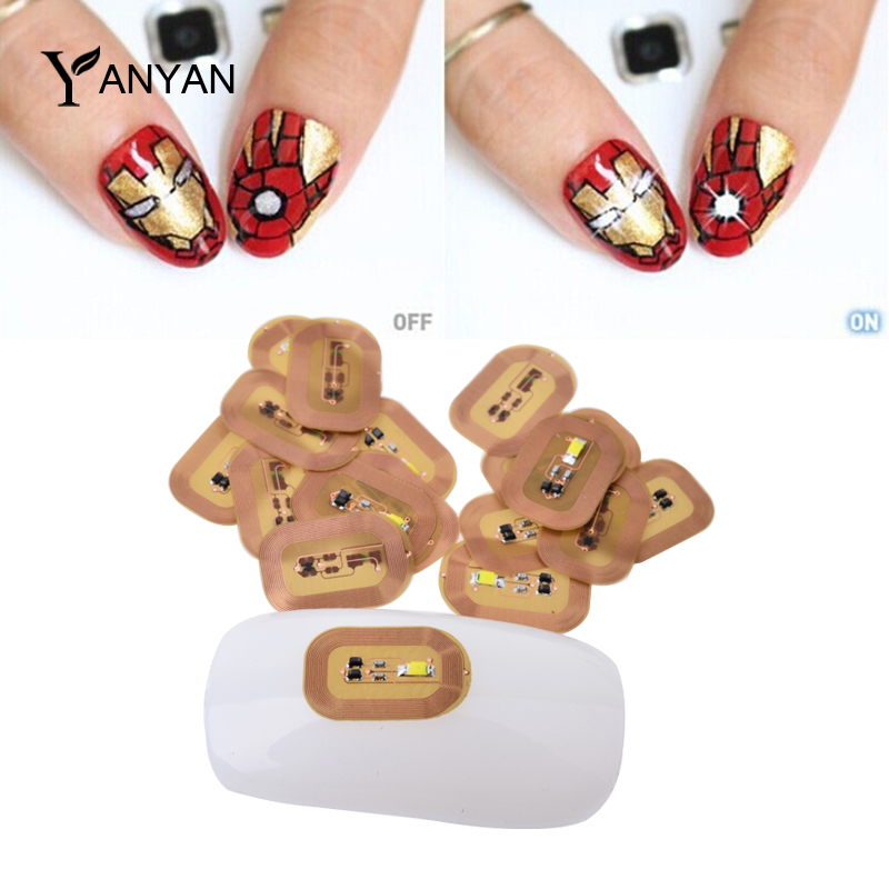 1pcs 3d NFC Japan Design Nail Art Stickers LED Light Chip Automatic Flash Affixed Scintillation Cell Phone Diy Decoration Tools(China (Mainland))