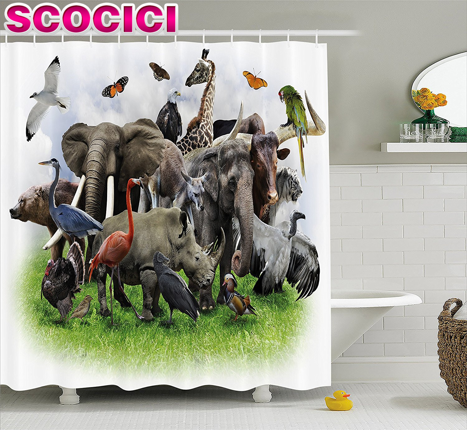 Compare prices on safari animal fabric online shopping for Zoo bathroom decor