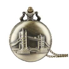 Buy Cindiry Retro Bronze Tower London Bridge Pattern Quartz Pocket Watch Necklace Pendant Gift relogio de bolso P30 for $2.66 in AliExpress store