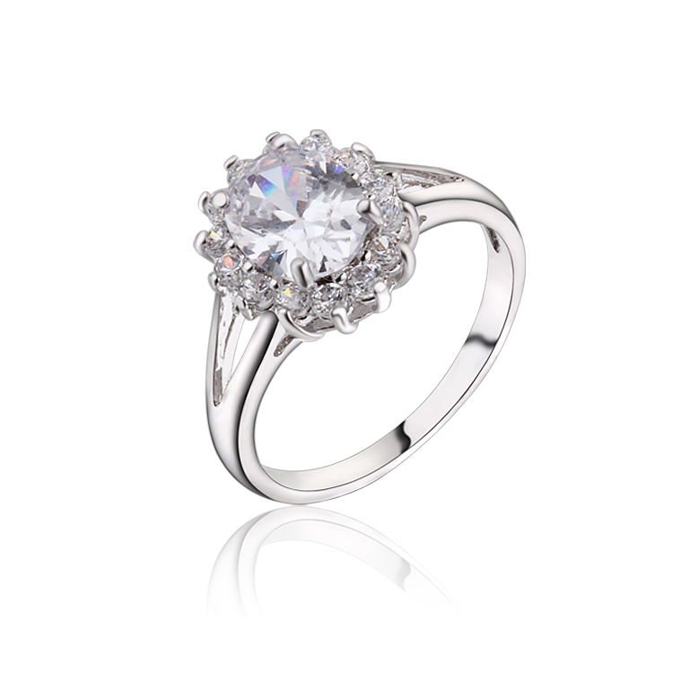 new platinum plated engagement rings for women round cut clear cz zircon wedding ring party. Black Bedroom Furniture Sets. Home Design Ideas