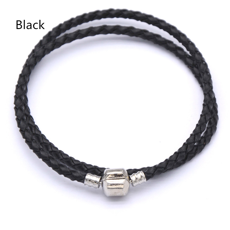 Charm Fit Pandora Leather Bracelet Mens Women Wrap Cuff Bracelets Woven Leather Cord Jewelry(China (Mainland))
