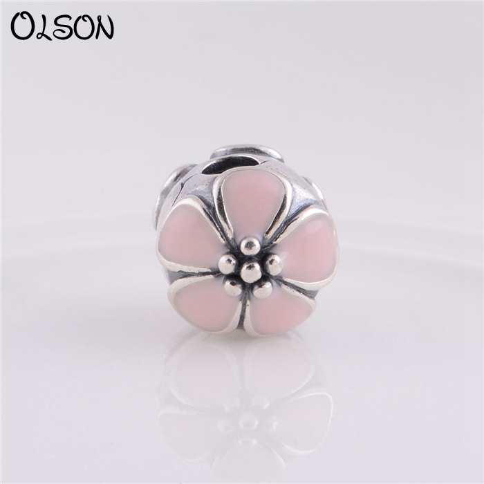 Cherry Blossom With Pink Enamel Clip Fit Authentic Pandora Bracelet Charms Silver 925 Original Clip KT074A-N <br><br>Aliexpress