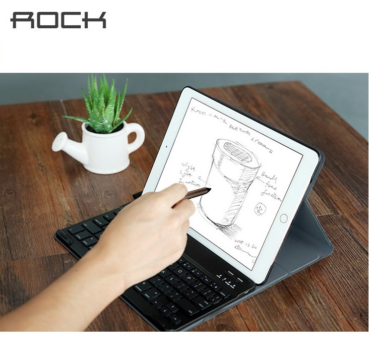 ROCK Brand Detachable Build-in Island Style Wireless Bluetooth Keyboard Case For iPad Pro 9.7 inch pu Leather Standing Cover(China (Mainland))