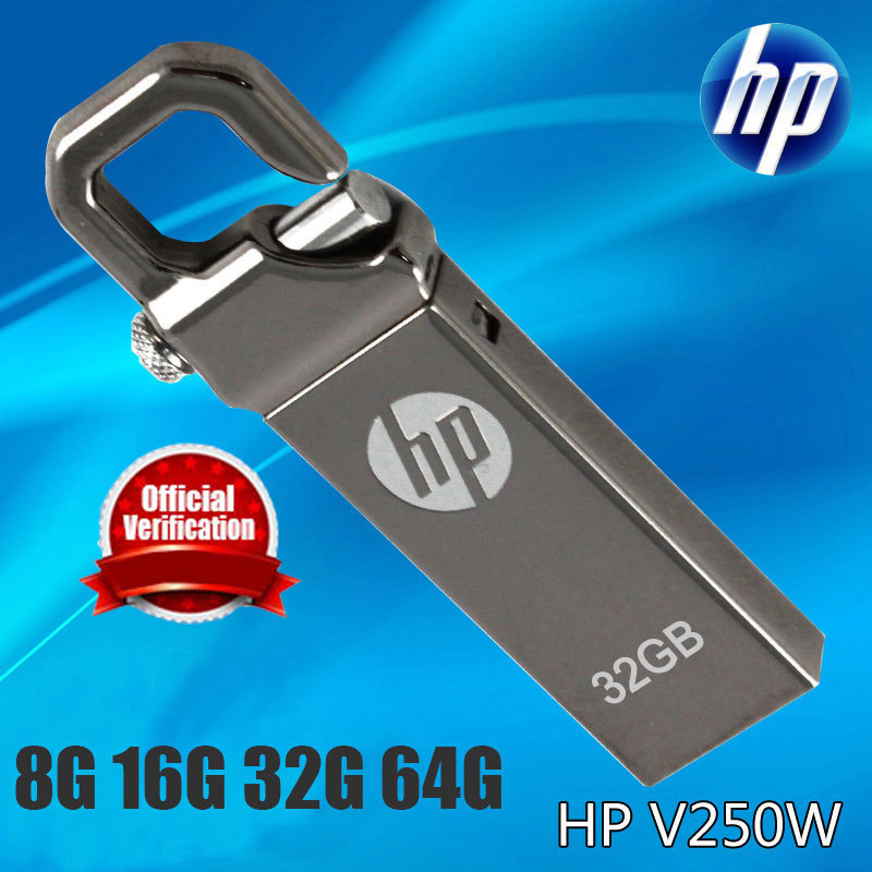 100% original HP v250w USB 2.0 Flash Drive 8gb 8g 16gb 16g 32gb 32g 64gb 64g Memory USB Stick support 0fficial Verification(China (Mainland))