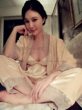 Three-piece high-grade meat pink pajamas tracksuit really soft velvet lace nightgown female fashion sexy sleepwear(China (Mainland))