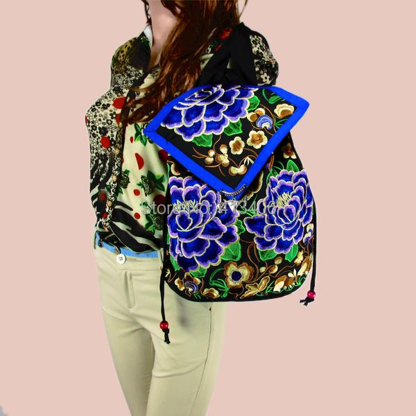 Tribal Vintage Hmong Thai Indian Ethnic Boho hippie ethnic bag rucksack backpack bag pom pom trim
