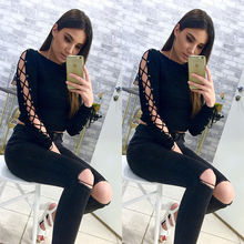 Buy Sexy New Fashion Women Ladies Clothing Tops Loose Long Sleeve T-Shirt Casual Fashion Cotton T-Shirt Clothes Women for $5.85 in AliExpress store