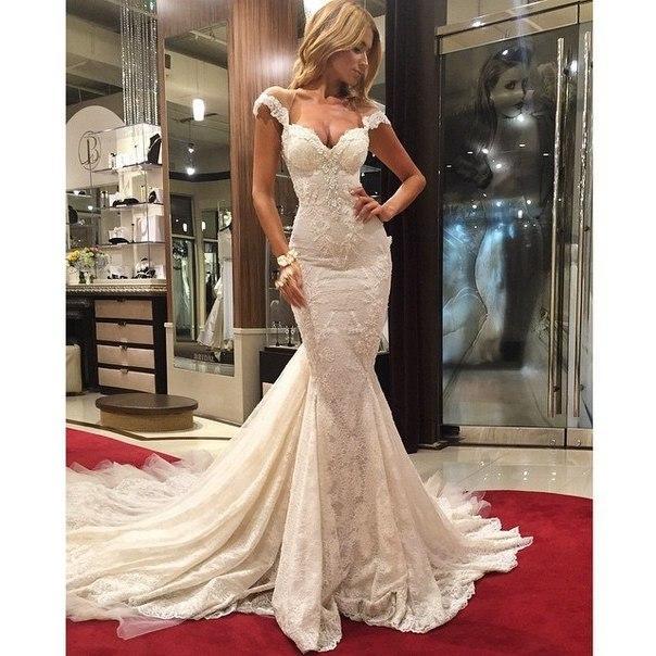 Beautiful Ivory Lace Mermaid Wedding Dresses Lace Applique On Satin Vestido De Novia Sirena Bridal Gown