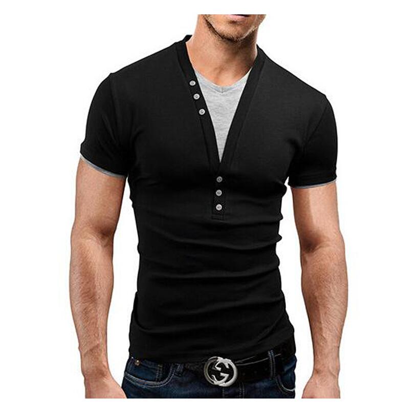 T shirt men brand 2015 fashion men 39 s v neck fake two tops for Branded v neck t shirts