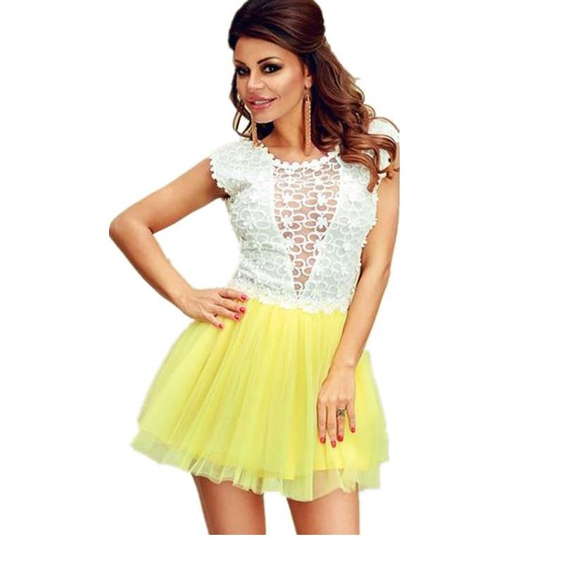 New Style Mini Dress Club Wear 2015 Lace Tulle Mix Summer Fashion Women Skater Dress Lc22354