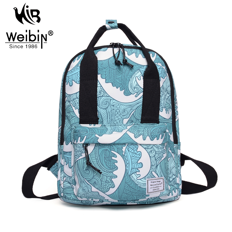 2017 New Chinese Style Canvas Wave Backpacks Women Bags Preppy School Bags For Teenagers Girls Casual College Printing Backpack(China (Mainland))