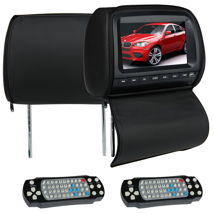 "black universal Car LCD Auto Headrest pillow DVD Player 9"" HD Headset dvd monitor USB Game IR FM USB SD for bmw nissan vw golf 5"