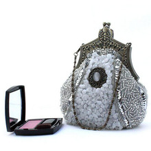 15 New Arrival Vintage Lady Handmade Evening Clutch Bags Exquisite Beading Metal Hasp Party Purse High Quality Chain Bag XA292H
