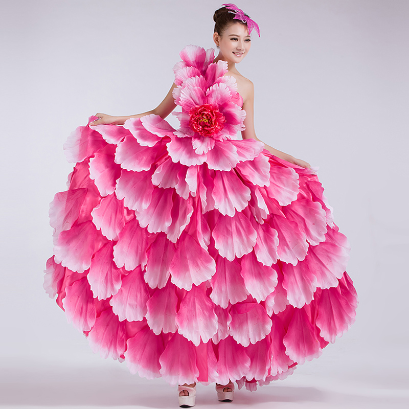 Spain Opening Flamenco Dance Big Dresses Long Section of Modern Dance Clothes Costumes Performing Arts Stage Clothing Flowers