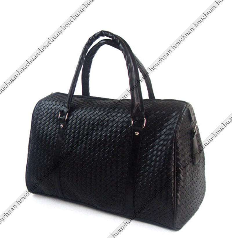 High Quality Large Capacity Fashion Woven Leather Men's Travel Bags Black Knit Leather Men Duffel bag Women's Travel Duffle Bag(China (Mainland))