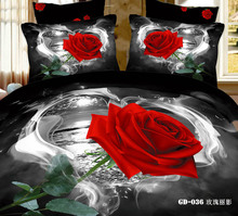 6 PCS PER SET 3D Smoking White Heart Red Rose Bedding Set (China (Mainland))