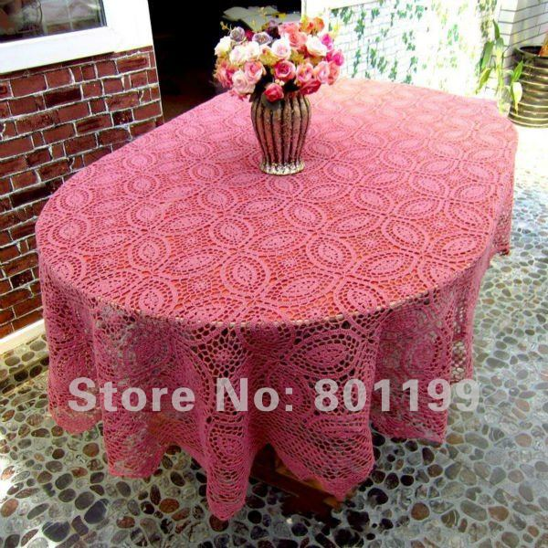 Vintage Corchet Tablecloth 65X87 INCH (160x220cm) OVAL .